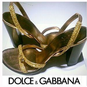 🆕 DOLCE & GABBANA Gold Slingback Heel Sandal